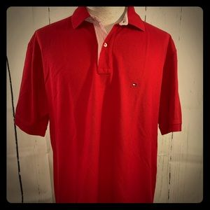 Tommy Hilfiger Mens Red  Short Sleeve Polo Shirt L